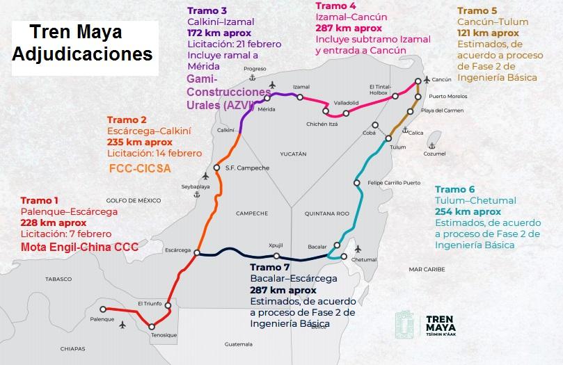 El consorcio formado por Idom y Dirac se ha adjudicado el proyecto del tramo 1 del Tren Maya